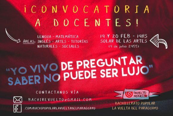 Bachillerato Popular convoca a docentes para ciclo lectivo 2018